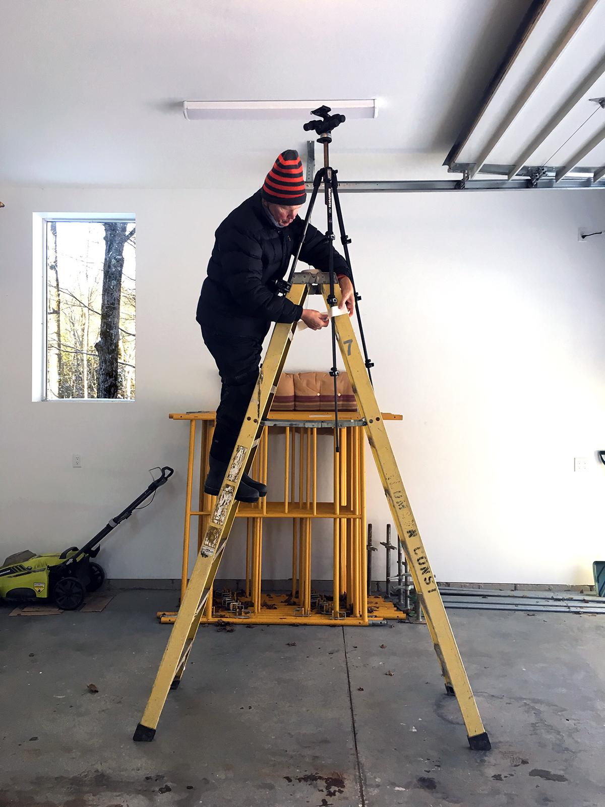Poul Ober rigging up a ladder