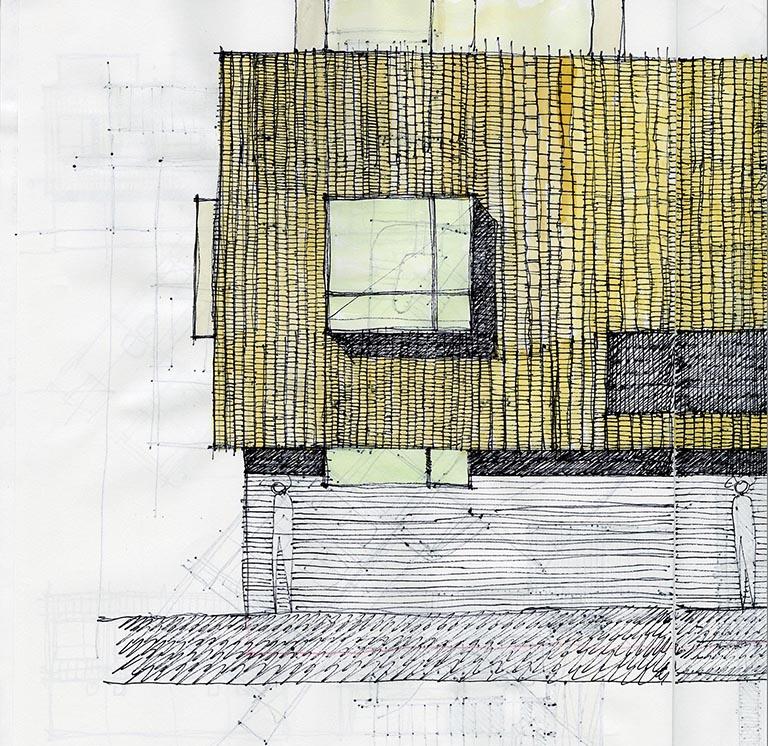 Concept Sketch - Wooden Rain Screen 01