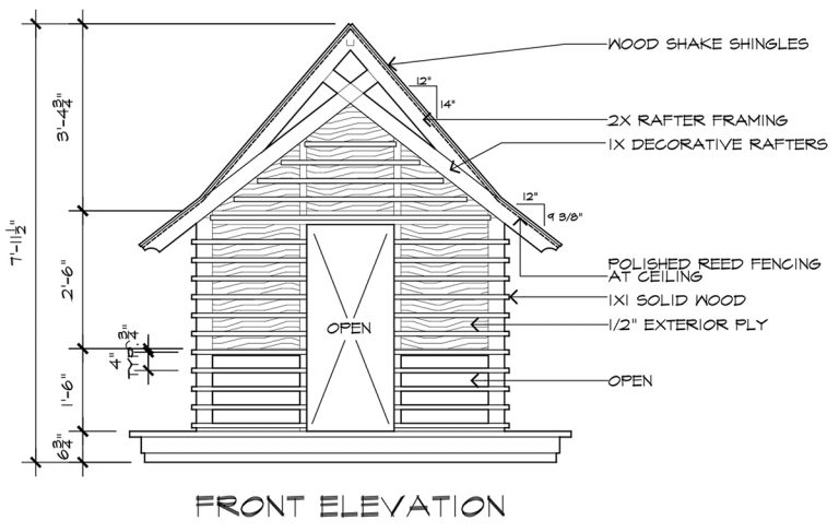 Japanese Playhouse Construction Drawings Front Elevation