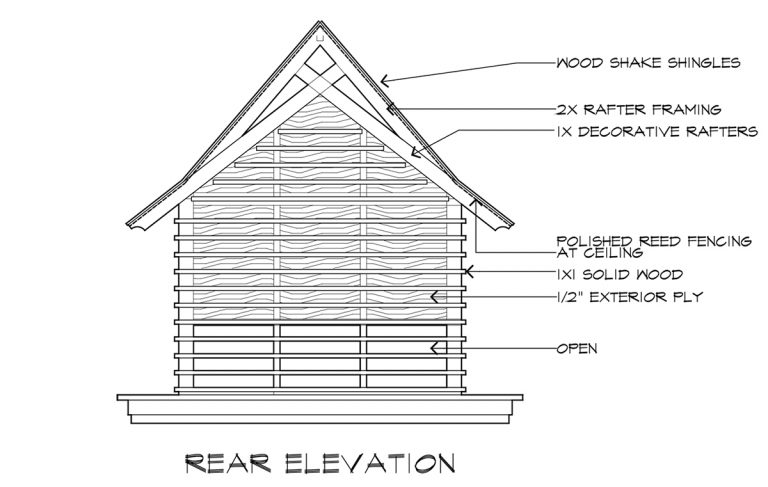 Japanese Playhouse Construction Drawings Rear Elevation