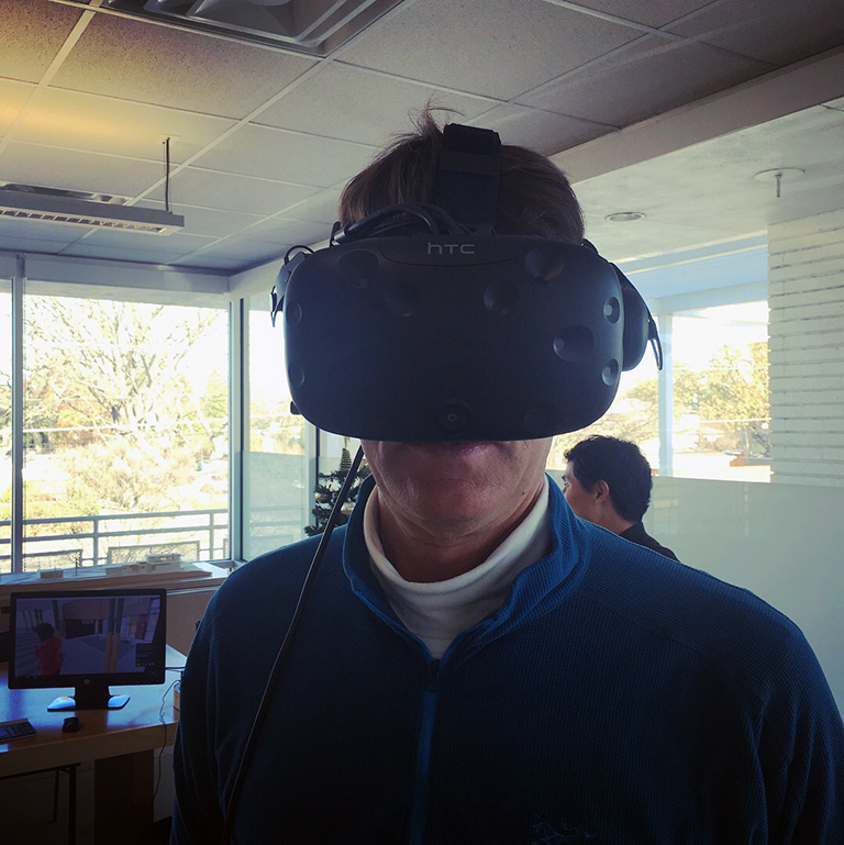 Michael Malone experimenting with the HTC Vive headgear