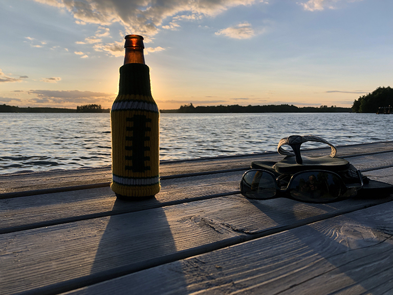 Beer on the Dock at Sunset