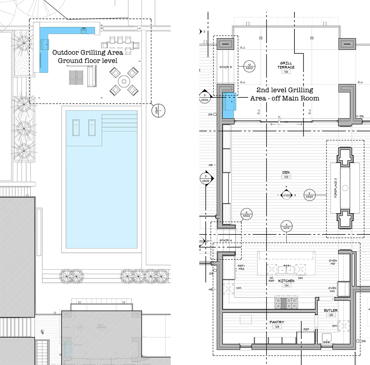 House plan with outdoor grill - by Dallas Architect Bob Borson