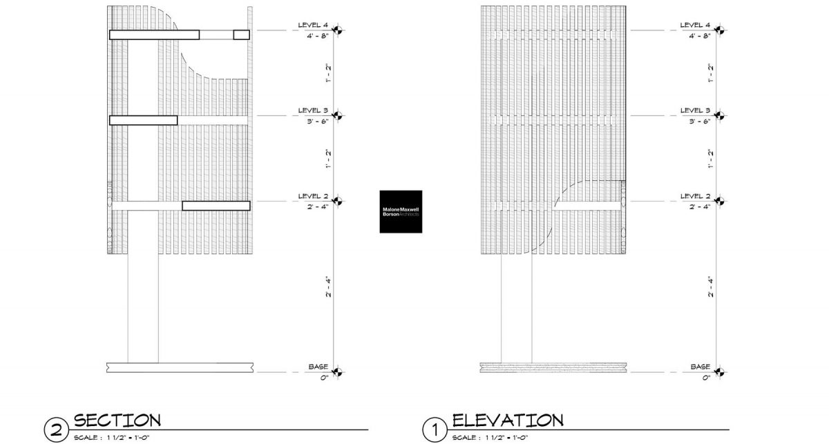 Cat Tower - Section and Elevation (by Malone Maxwell Borson Architects)