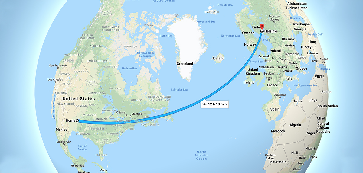 Map from Dallas To Helsinki, Finland