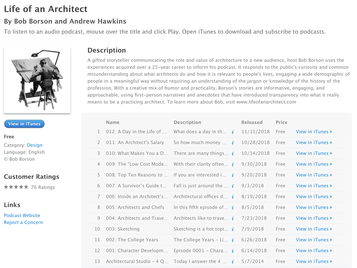 Life of an Architect Podcast - iTunes Page