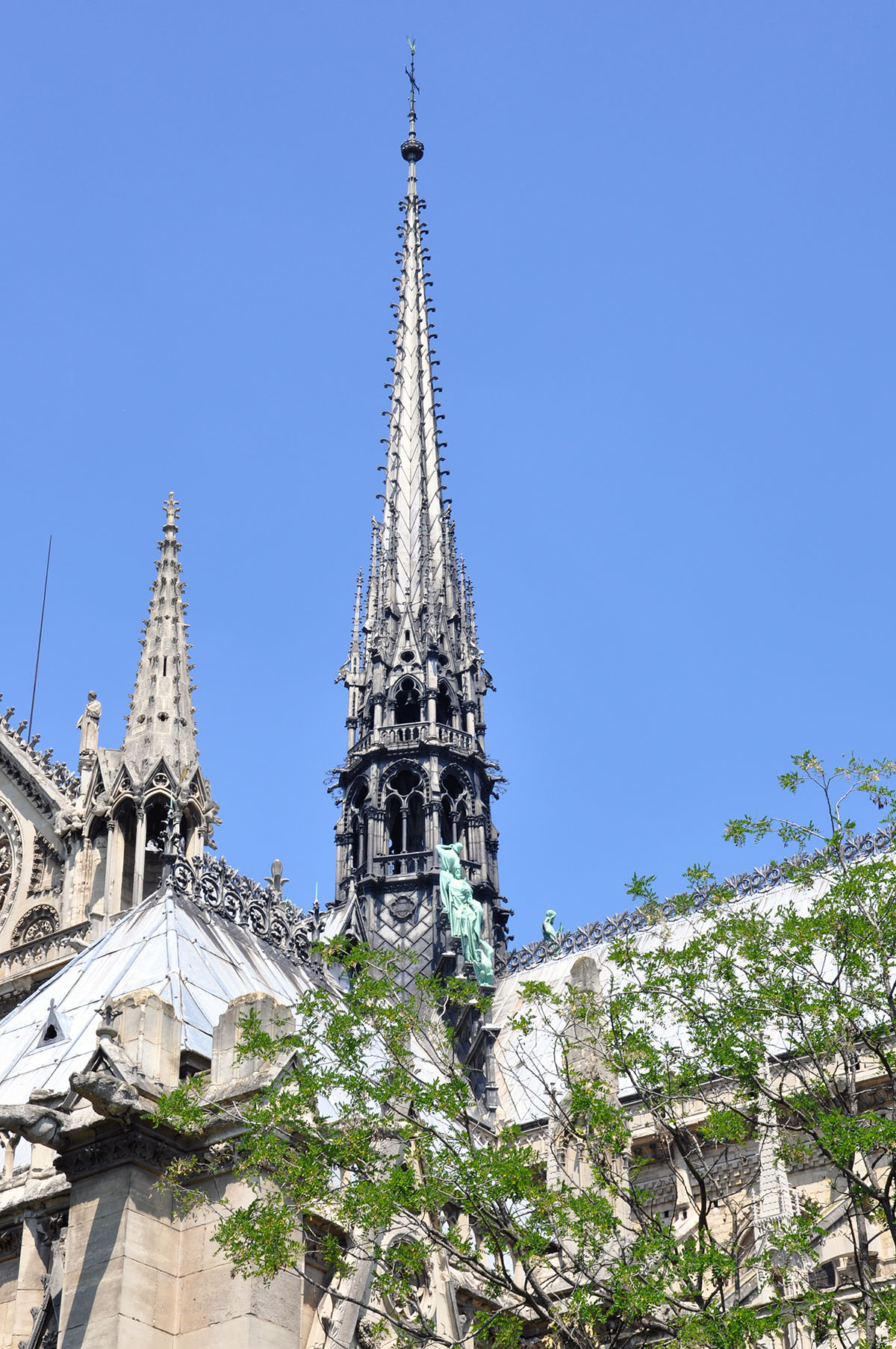 Notre Dame Cathedral main spire detail June 2010 photo by Bob Borson