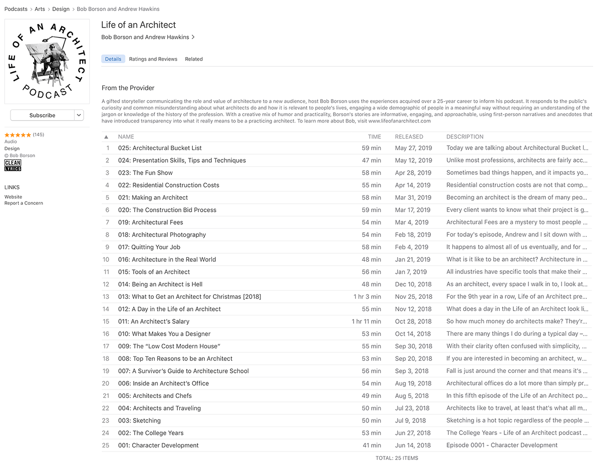 Life of an Architect on iTunes
