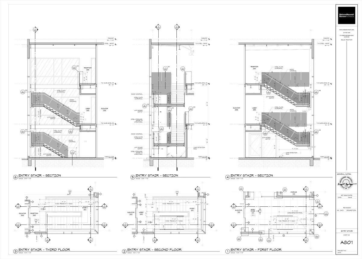 Oak Grove Interior Stairs Building Sections and Plans shaded