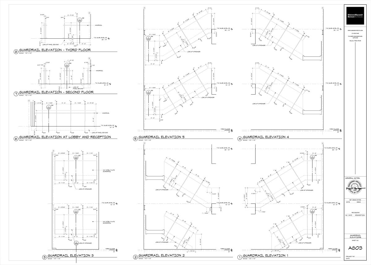 Oak Grove Interior Stairs Steel Panel Elevations