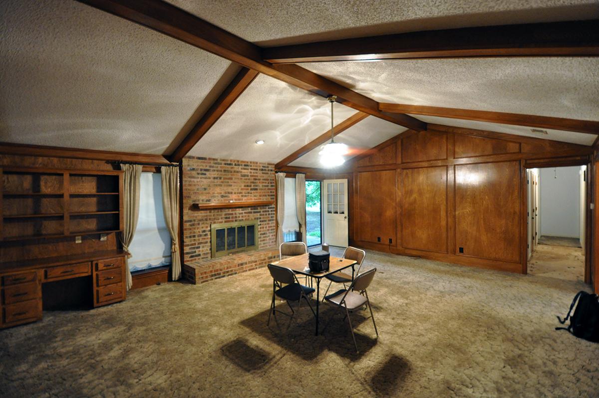 wood paneled den in an older home