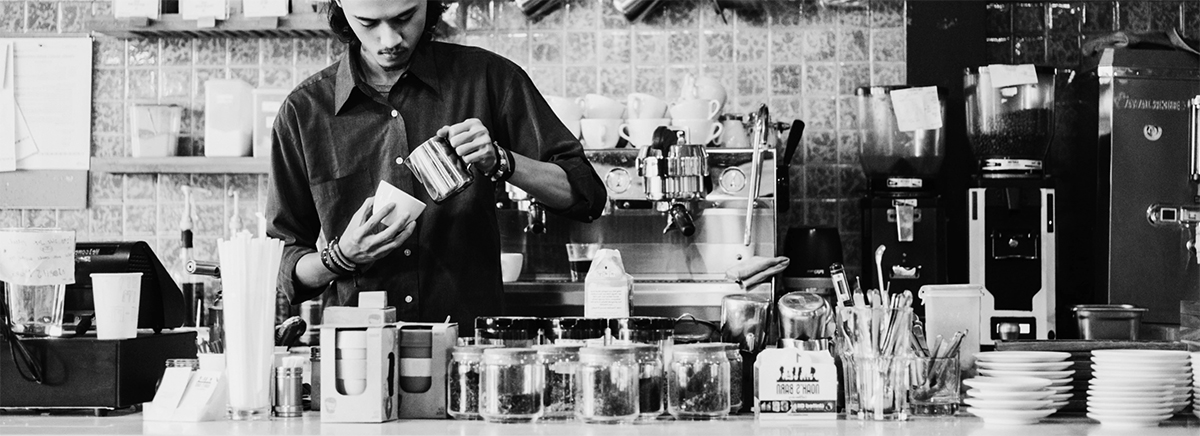 Making coffee - black and white image