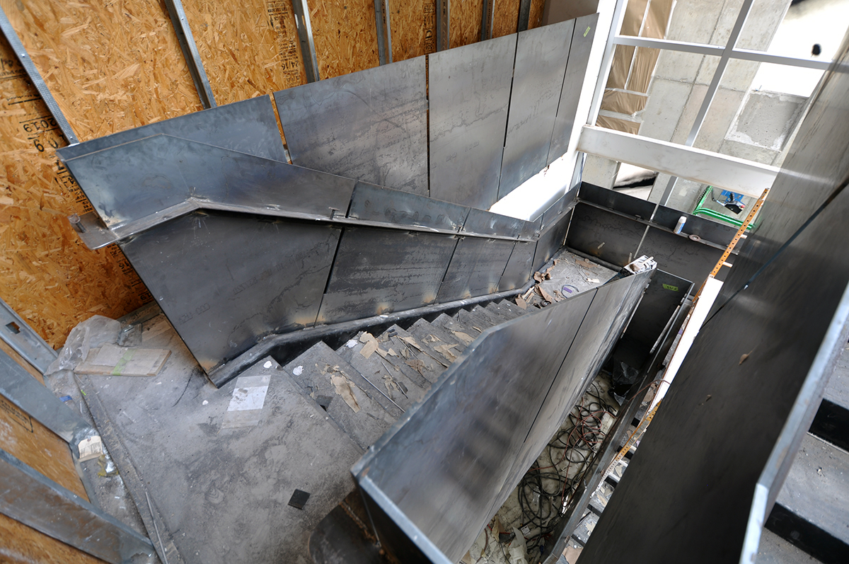 Work214 Ground level steel panel stair under construction