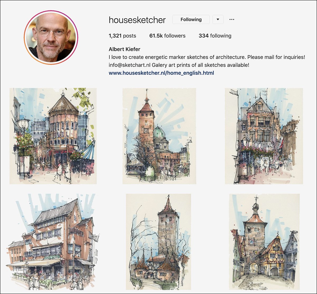 housesketcher Instagram account - good for sketching