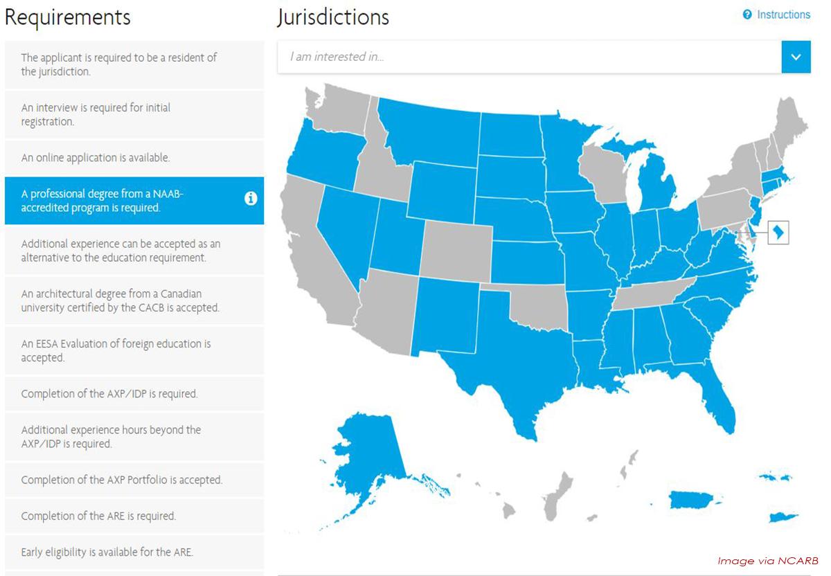 NCARB Jurisdiction map