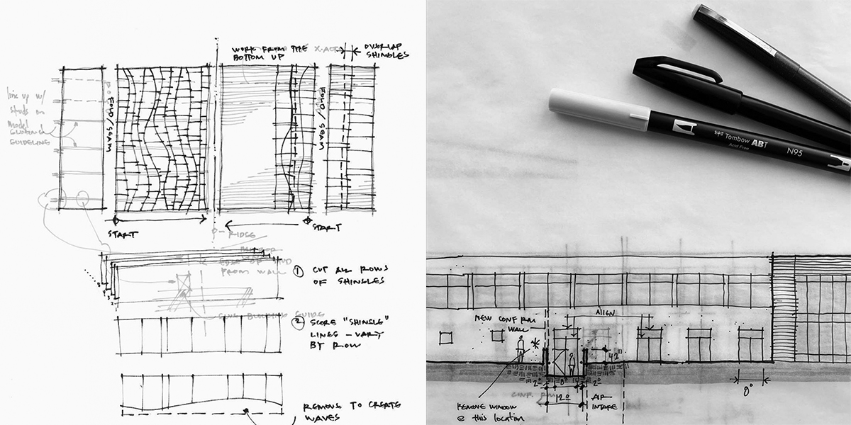 Architectural detail and elevation sketches by Bob Borson 01