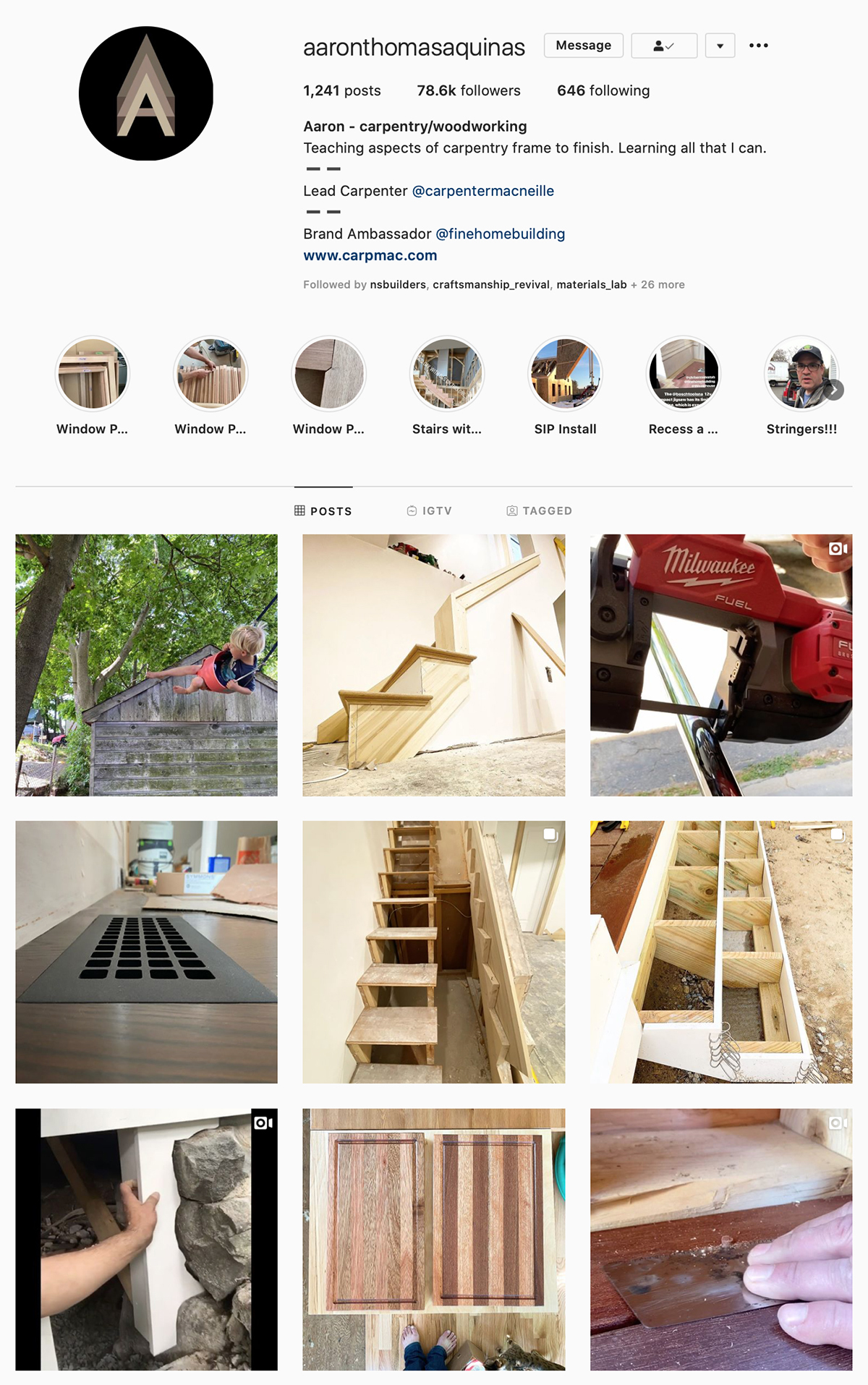 Best Construction Instagram Accounts Aaron Thomas Aquinas