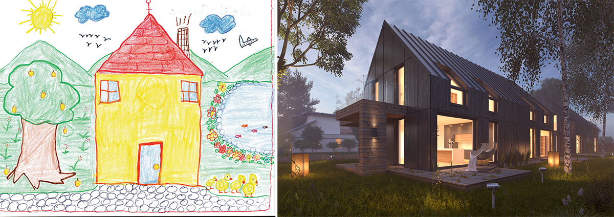 Child's drawings versus professional rendering