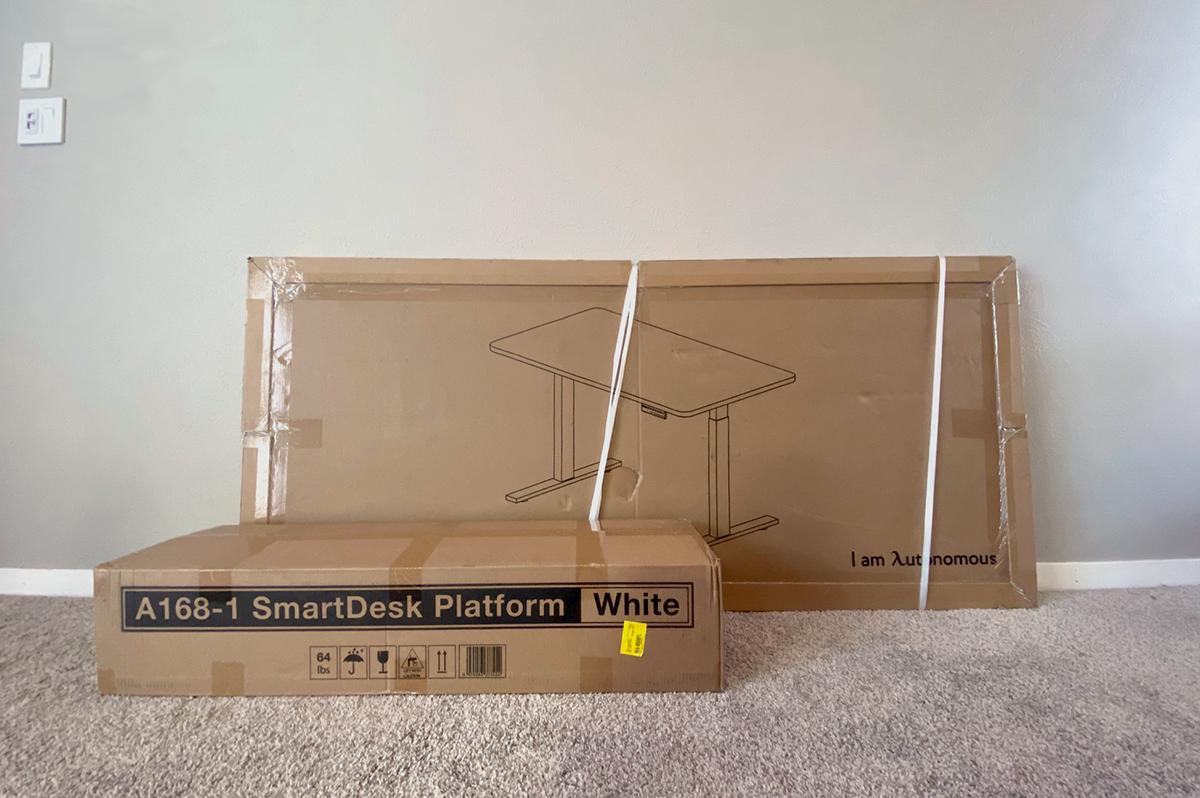 Autonomous Desk in the packaging - photo by Bob Borson