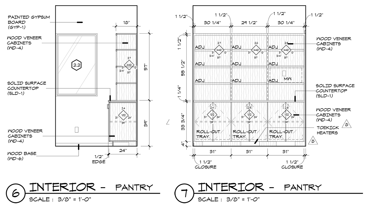 Pantry Elevations drawing - Dallas Architect Bob Borson