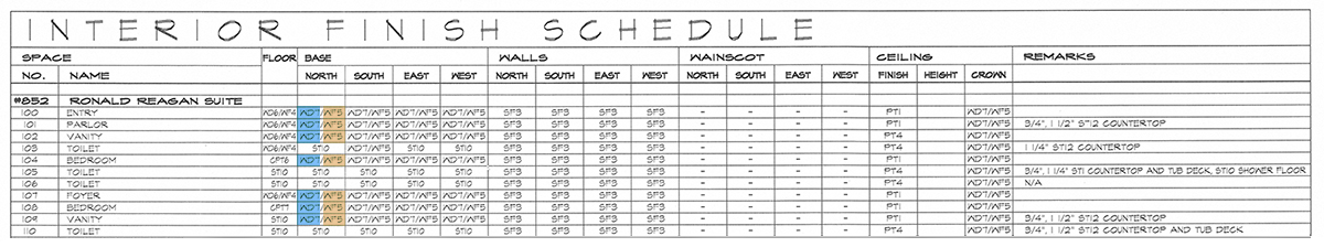 Architectural Graphics 101 Finish Schedule enlarged