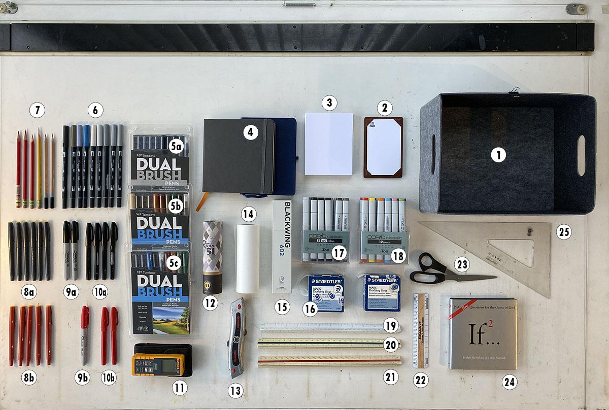 Bob Borson - Architect's Desk - Pen Container Contents