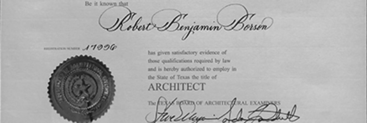Bob Borson's architectural license - Where is the Finish Line