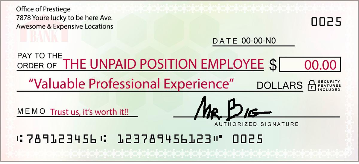 Unpaid Position Paycheck