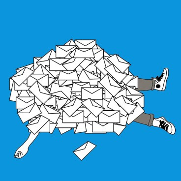 too many emails - sketch by artist Elena Lacey