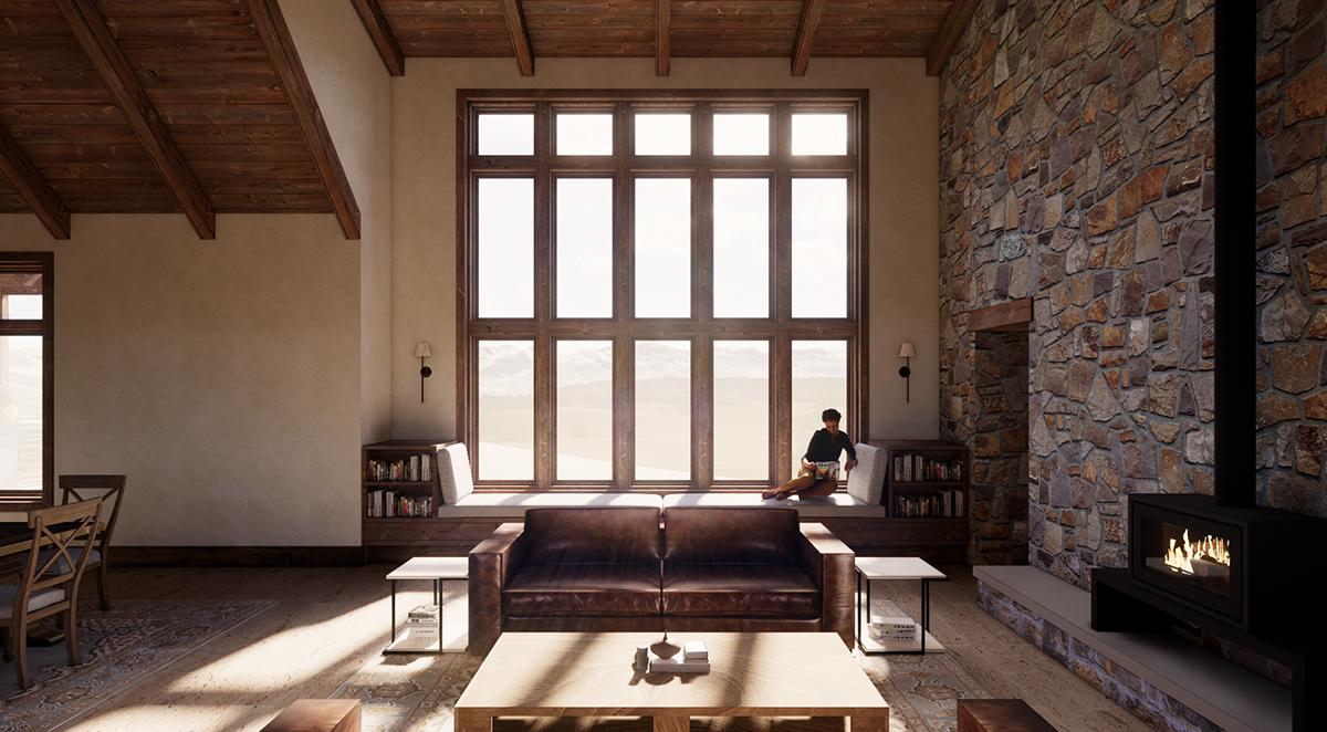 Den Perspective looking West - Renderings for Residential Design