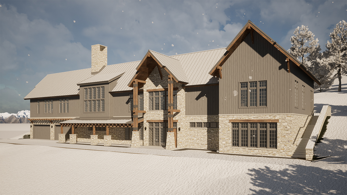 Front Perspective with Snow - Renderings for Residential Design