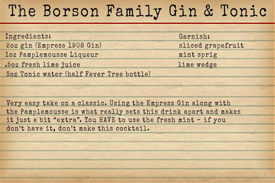 The Borson Family Gin and Tonic recipe