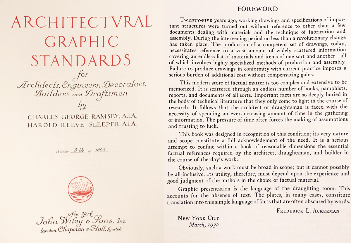 Architectural Graphics Standards 1932 First Edition Foreword