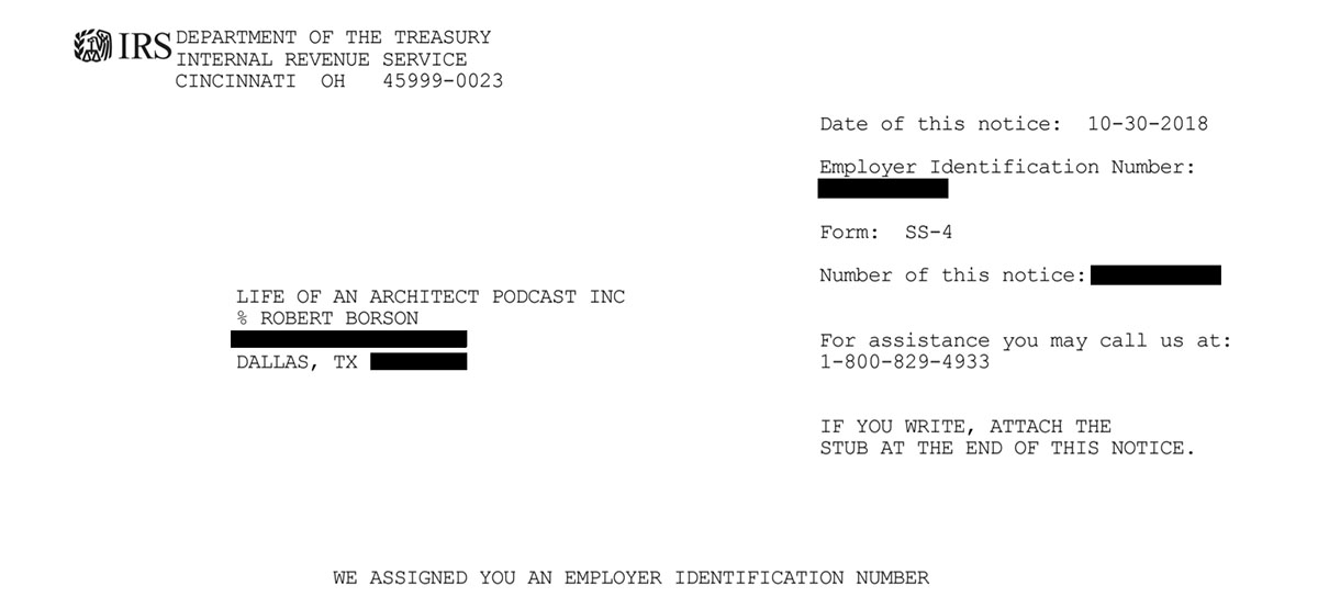 Life of an Architect - IRS Notification