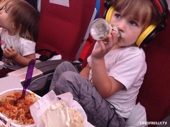 The headphones that are given out on-board are usually uncomfortable for children, so invest in a nice, comfy pair.