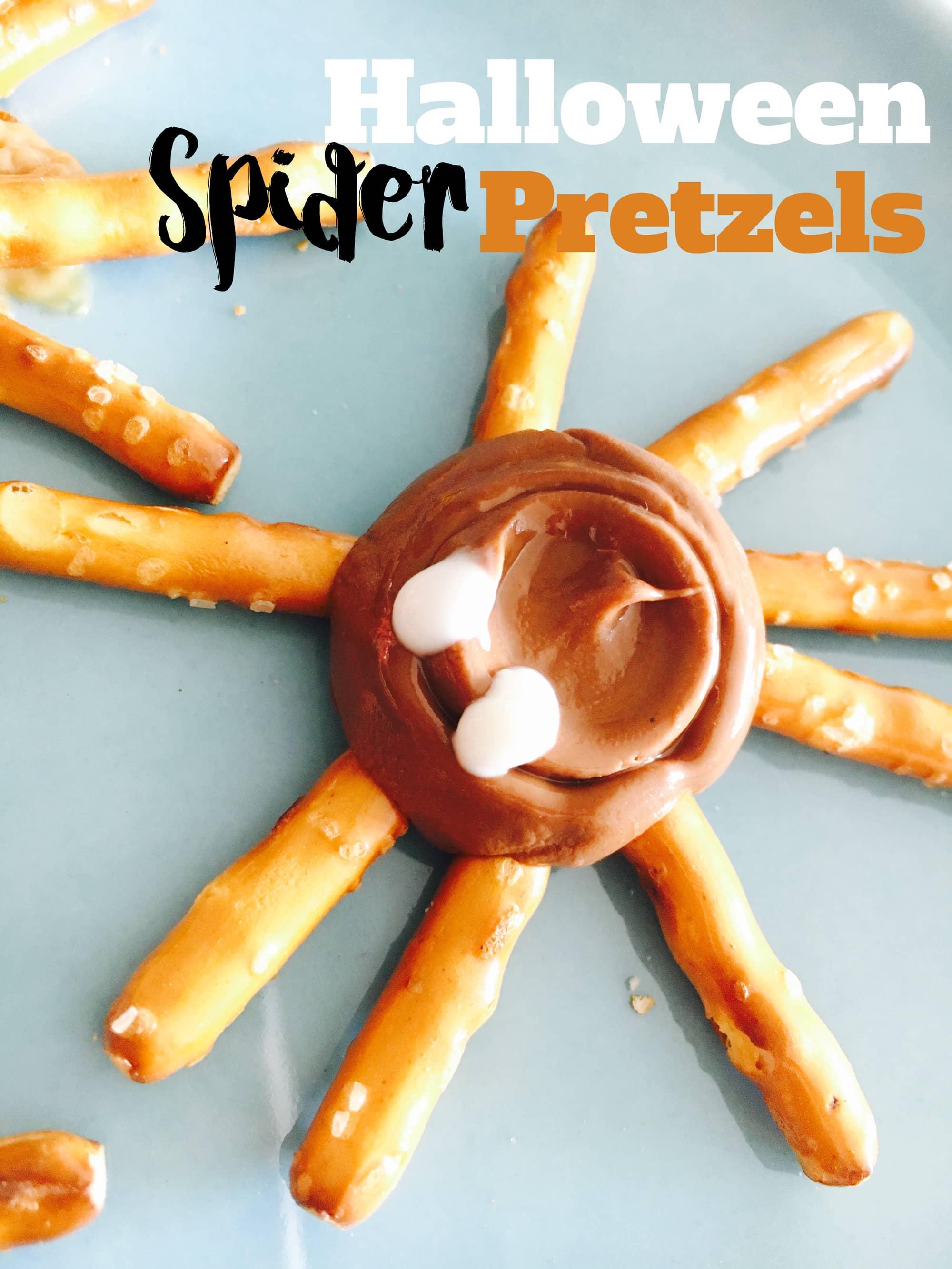 Halloween Spider and Web Pretzels