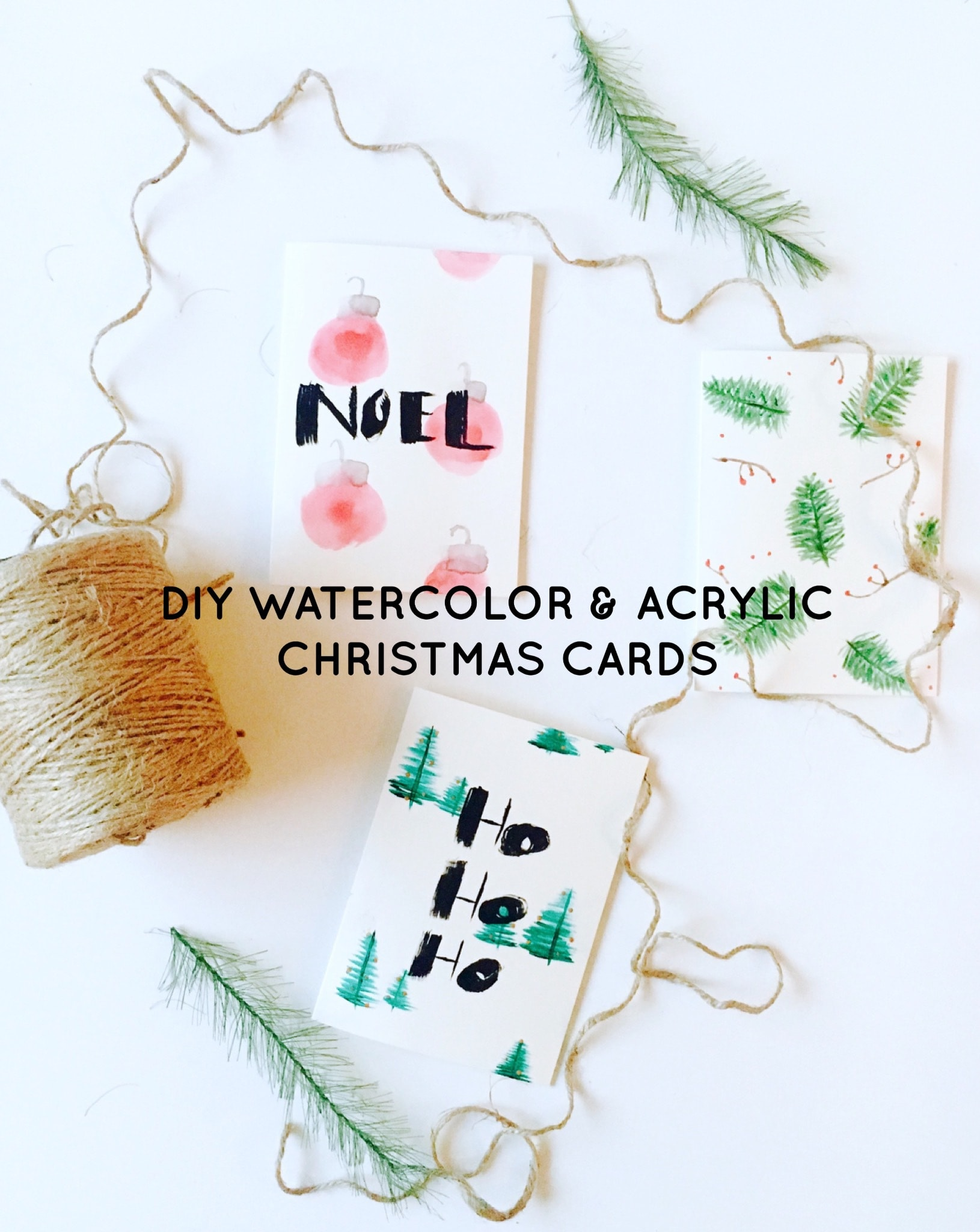 DIY Watercolor & Acrylic Christmas Cards
