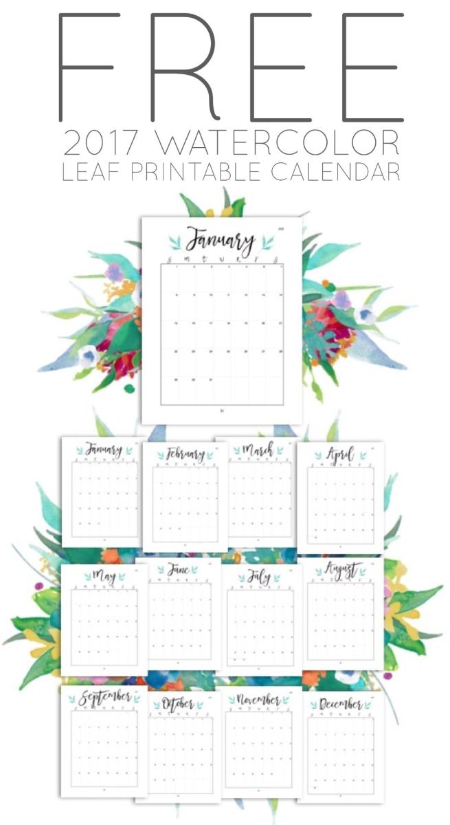 Free 2017 Watercolor Leaf Printable Calendar