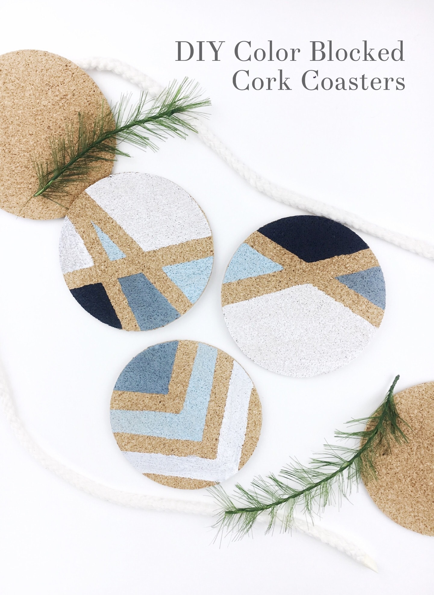 DIY Color Blocked Cork Coasters
