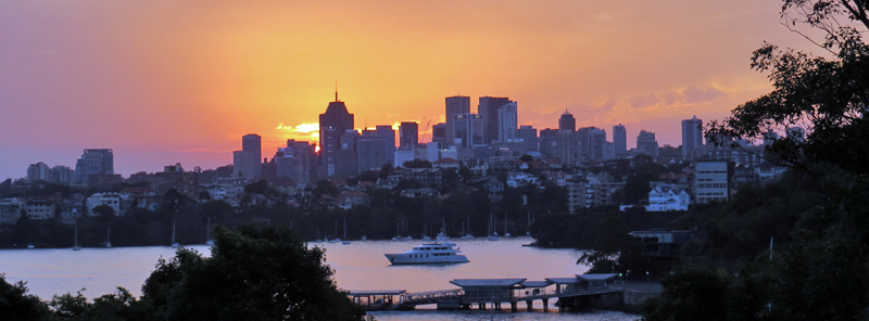 Sunset view to North Sydney from historic Athol Hall