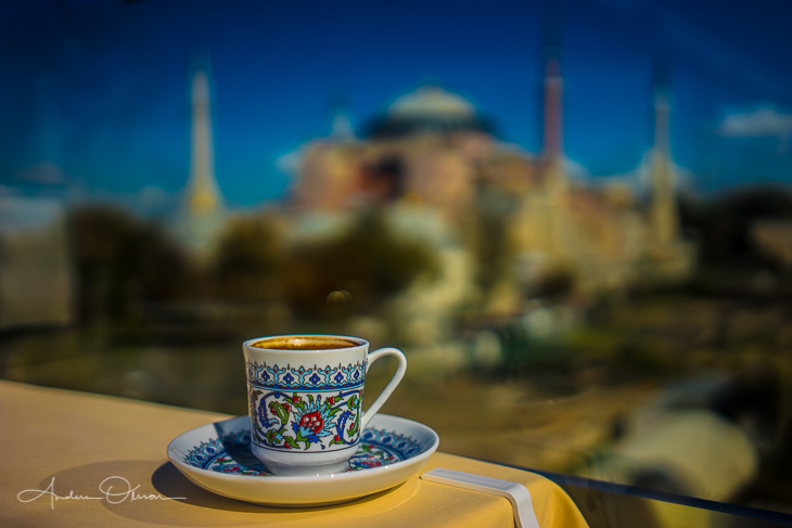 Turkish coffee in Istanbul - Hagia Sophia.