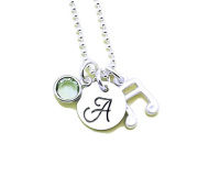 Music Note Initial Necklace, Band Necklace, Musician Gift