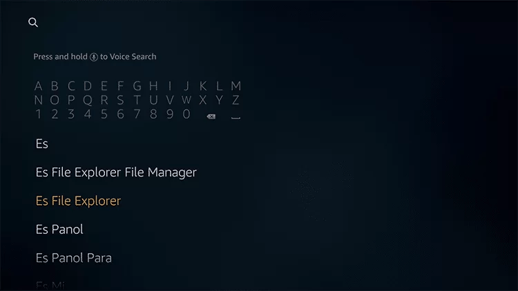 Search for ES File Explorer