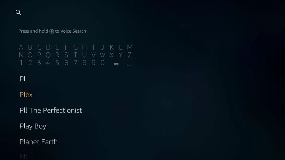Search for Plex