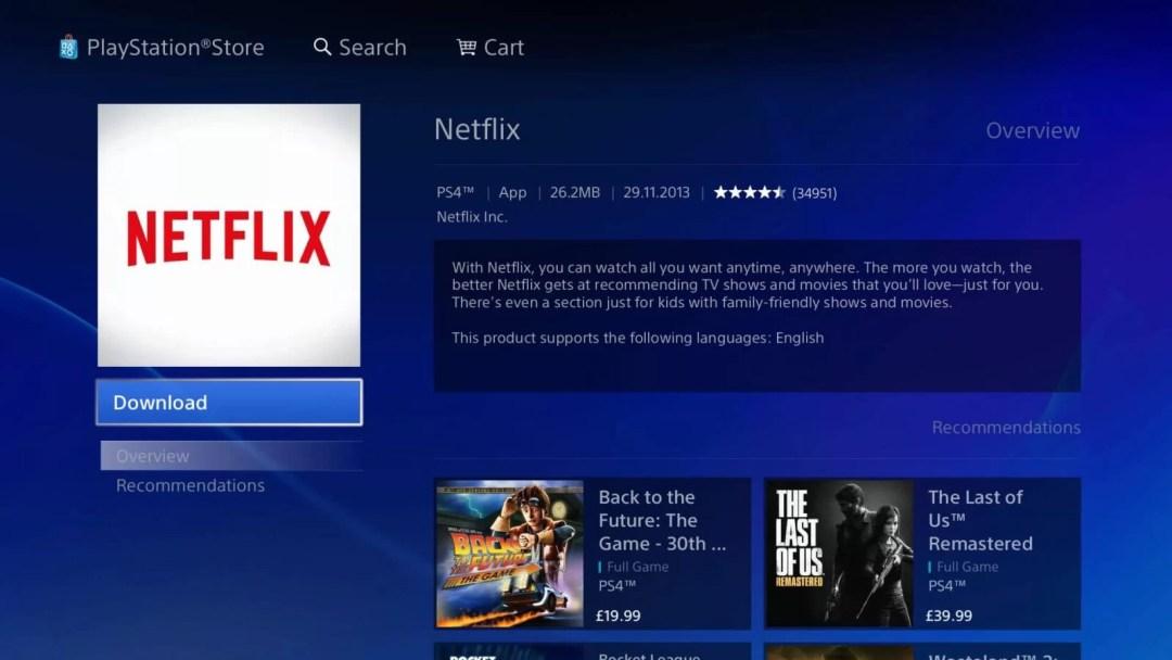 Netflix on PS4
