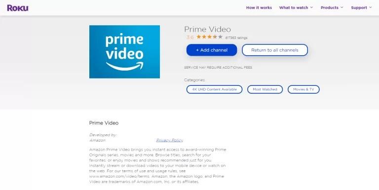 Amazon Prime on Roku