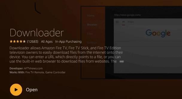 Downloader app to install Cinema HD on Firestick