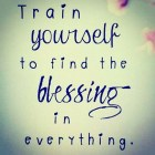 Train Yourself To Find The Blessings....