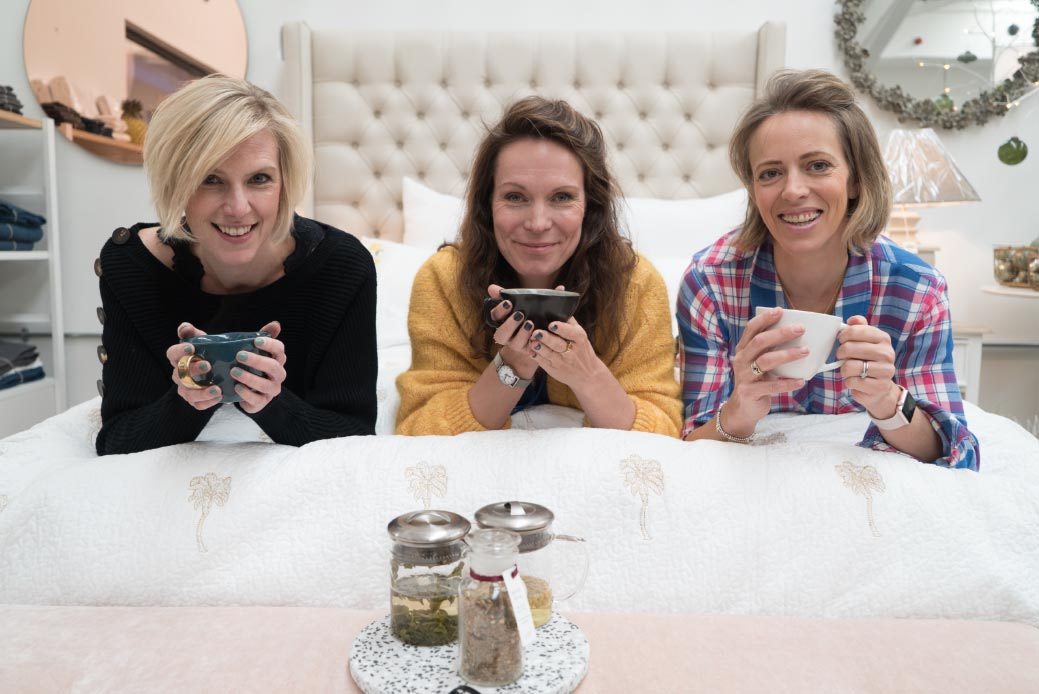 Night-time Ritual Tea with three ladies in bed