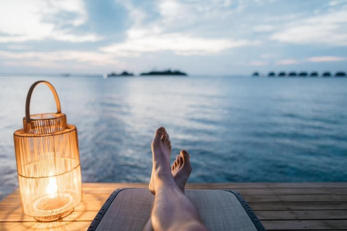 white skin adult practicing self-care with relaxation